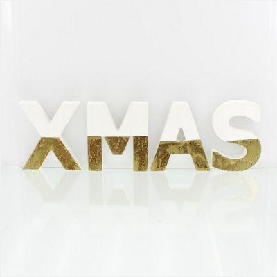 Letras Decorativas XMAS - Branco e Dourado - NA2150