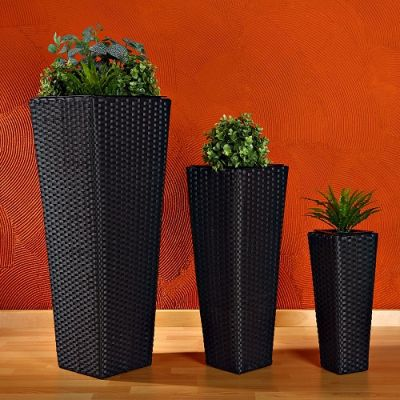 Set 3 Vasos Rattan Flower Pot