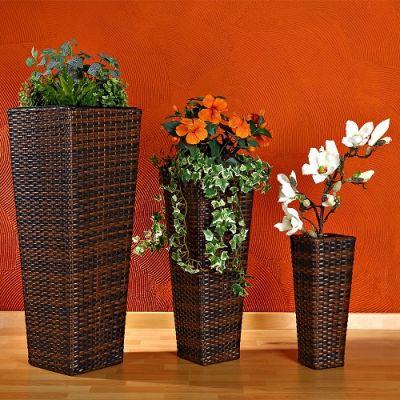Set 3 Vasos Rattan Flower Pot